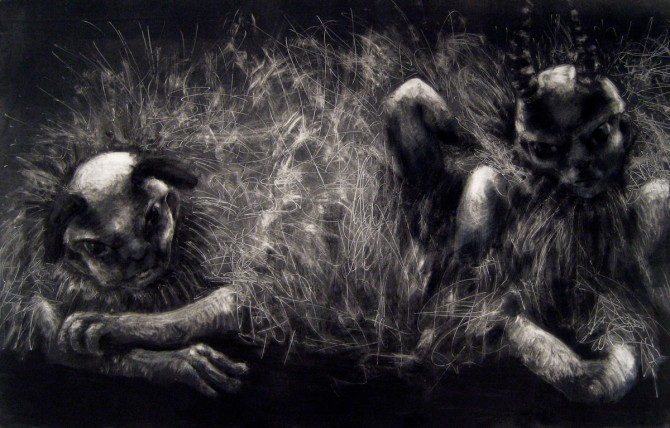"Entangled, Monotype, 28"" x 48"""