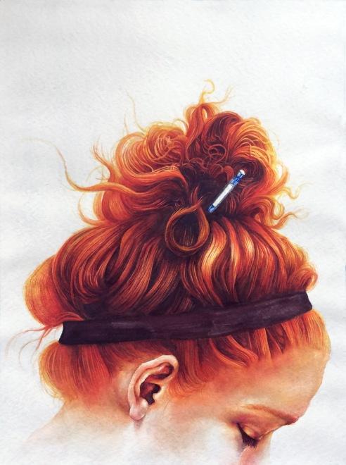 Jen At Work, watercolor