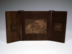 Stone lithograph print inlays in walnut
